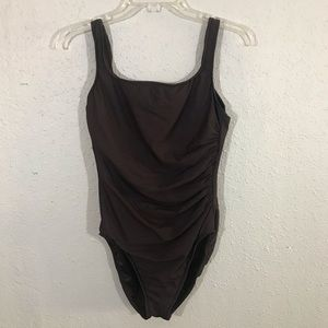 Miraclesuit Brown One Piece Swimsuit size 12